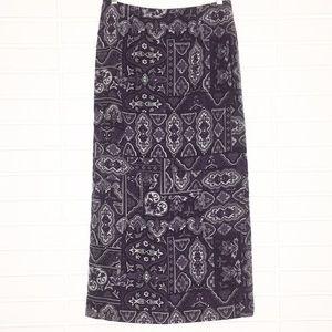 Talbots | Purple Brocade Print 100% Silk Skirt